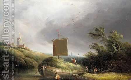 The hay barge by (after) Edward Charles Williams - Reproduction Oil Painting