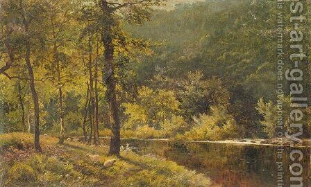 River scene by Alfred de Breanski - Reproduction Oil Painting