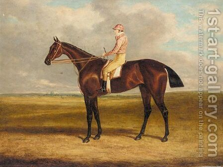 Jockey mounted on bay by (after) Herring Snr, John Frederick - Reproduction Oil Painting