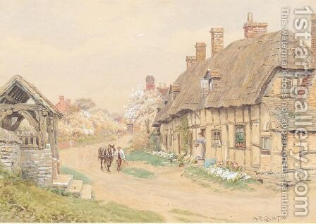 The church gate, Welford-on-Avon by Alfred Robert Quinton - Reproduction Oil Painting