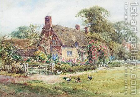 The Cottage garden by Henry Stannard - Reproduction Oil Painting