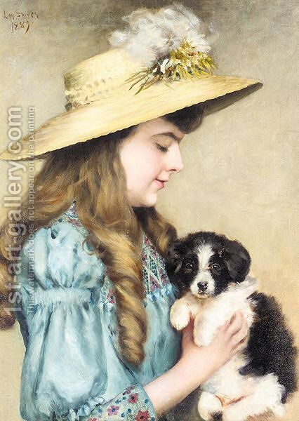 My puppy by (after) Charlotte Lillian Sheppard - Reproduction Oil Painting