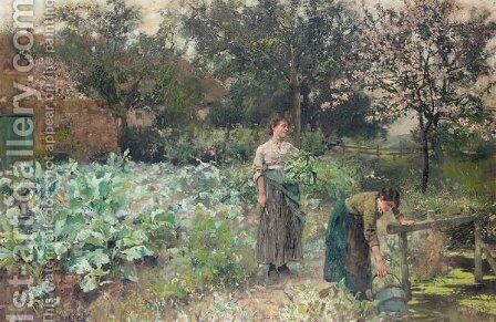 In the kitchen garden by Henry John Yeend King - Reproduction Oil Painting