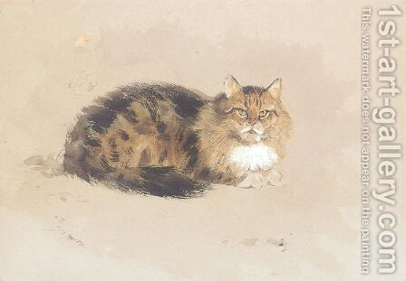 Study of cat by Archibald Thorburn - Reproduction Oil Painting