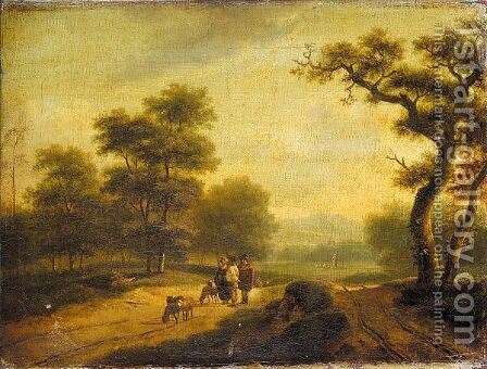 Figures and sheep on country road by Dutch School - Reproduction Oil Painting