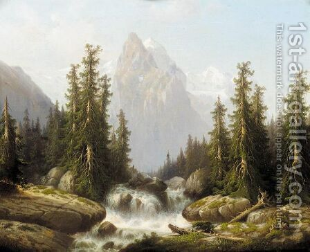 Waterfall in forest, Alps in the background by Gustave Dietrich - Reproduction Oil Painting