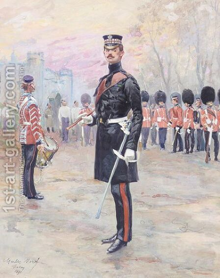 Officer and guards reveiew by Charles Morel - Reproduction Oil Painting
