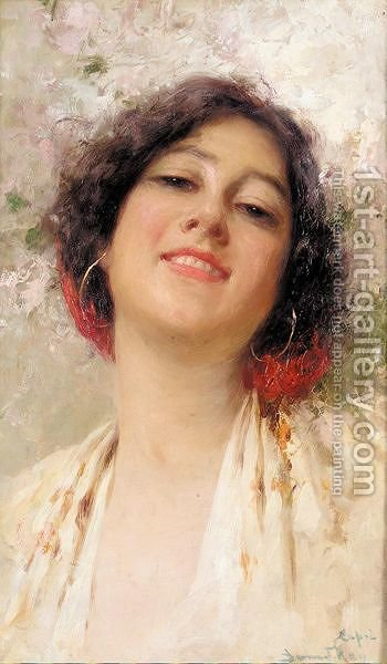 Portrait of an italian beauty by Bernardo Hay - Reproduction Oil Painting