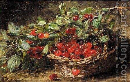 Basket of cherries by Alexis Kreyder - Reproduction Oil Painting