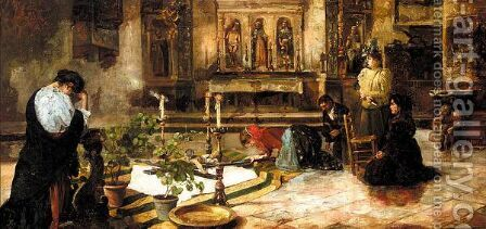 At prayer by Italian School - Reproduction Oil Painting