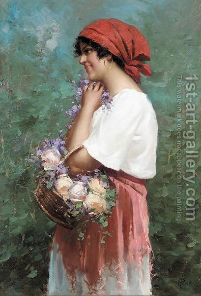 The flower girl by A. Botterini - Reproduction Oil Painting