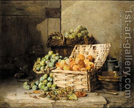 Still life of peaches and apples in a basket by Albert Patte - Reproduction Oil Painting