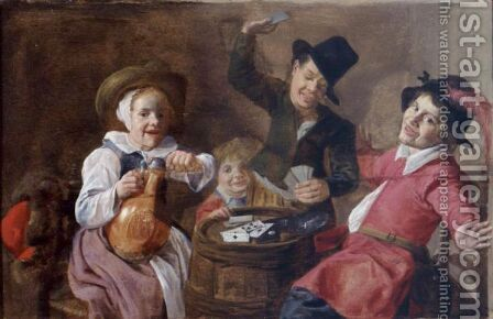 Children Playing Cards Around A Barrel by (after) Jan Miense Molenaer - Reproduction Oil Painting