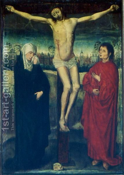 Christ On The Cross With The Virgin And St. John by (after) Rogier Van Der Weyden - Reproduction Oil Painting
