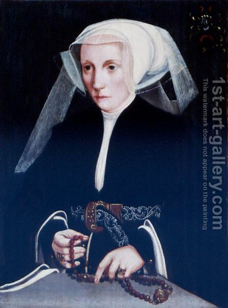 Portrait Of A Lady Holding A Rosary by (after) Barthel Bruyn - Reproduction Oil Painting