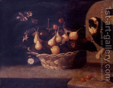 Still Life Of Cherries, Plums And Figs In A Basket Resting On A Ledge, A Parrot Looking On by (after) Baltazar Gomes Figueira - Reproduction Oil Painting