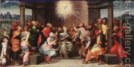 Descent Of The Holy Spirit At Pentecost by (after) Lambert Lombard - Reproduction Oil Painting