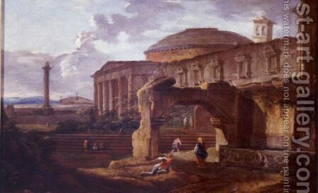 Landscape With Antique Ruins by Hubert Robert - Reproduction Oil Painting