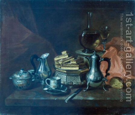 Still Life With Silver And Biscuits On A Dish by André Bouys - Reproduction Oil Painting