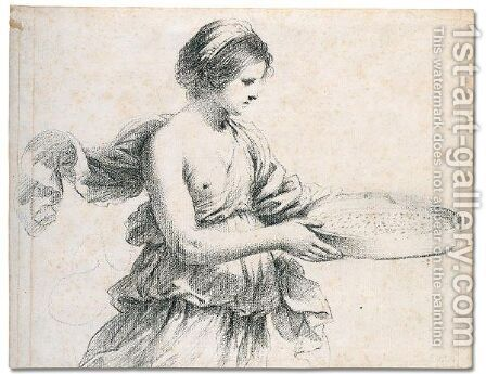 A young woman holding a sieve by Giovanni Francesco Guercino (BARBIERI) - Reproduction Oil Painting