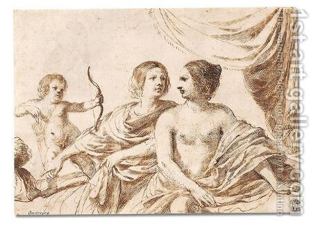 Mars, Venus and Cupid by Giovanni Francesco Guercino (BARBIERI) - Reproduction Oil Painting
