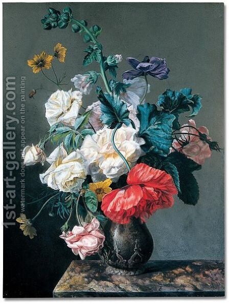 A bouquet of flowers on marble ledge by Jacques Carrey - Reproduction Oil Painting