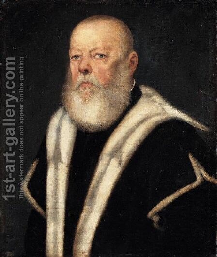 Portrait Of A Bearded Gentleman, Head And Shoulders, Wearing An Ermine-Lined Black Coat by Jacopo Tintoretto (Robusti) - Reproduction Oil Painting