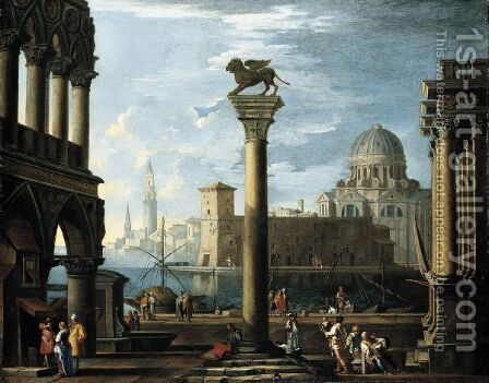 A Capriccio View Of The Molo From The Piazzetta Looking South by (after) Giovanni Ghisolfi - Reproduction Oil Painting