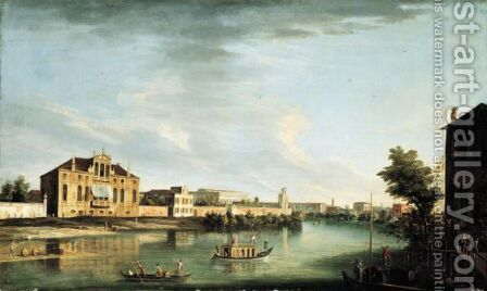 A View Of The River Brenta At Stra With The Villa Cappello And The Villa Pisani, Looking Out Towards The Gardens by Apollonio Domenichini - Reproduction Oil Painting