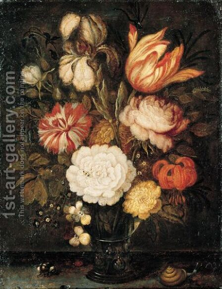 A Still Life With Roses, A Tulip, An Iris And Other Flowers Together In A Roemer On A Stone Ledge, With A Snail, A Bee And A Ladybird by Balthasar Van Der Ast - Reproduction Oil Painting