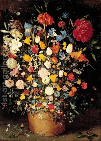 A Still Life Of Roses, Tulips And Other Flowers In A Wooden Tub by Jan, the Younger Brueghel - Reproduction Oil Painting