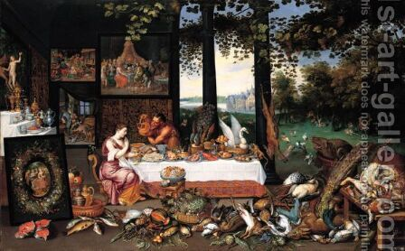 An Allegory Of The Sense Of Taste by Jan, the Younger Brueghel - Reproduction Oil Painting