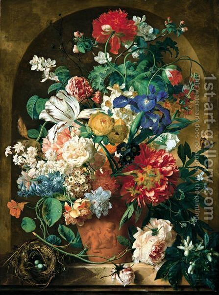A Still Life Of Flowers In A Terracotta Vase Upon A Marble Ledge