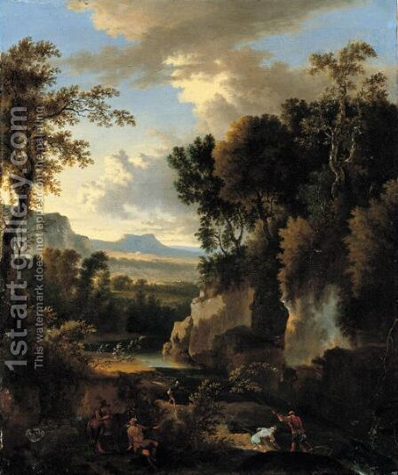 A Wooded River Landscape With Fishermen And A Man With A Donkey In The Foreground by Jan Hackaert - Reproduction Oil Painting