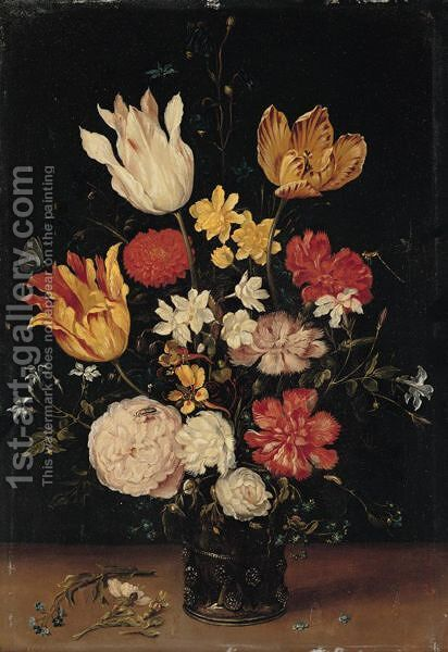 A Still Life Of Tulips, Roses, Carnations And Other Flowers In A Glass Vase by (after) Jan The Elder Brueghel - Reproduction Oil Painting