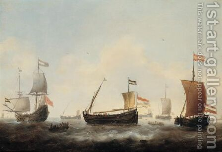 Dutch Herring Fleet With A Merchantman In A Light Swell by Jacob Adriaensz. Bellevois - Reproduction Oil Painting