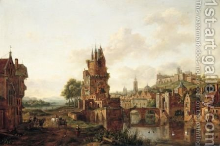 A View Of A Town By A River With Peasants And Travellers On A Path In The Foreground by Hendrik Frans de Cort - Reproduction Oil Painting