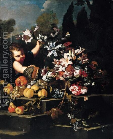 A Young Boy Arranging Flowers In An Urn With Peaches, Pears, Grapes, A Pomegranate And A Melon On A Stone Steps In A Garden by (after) Abraham Brueghel - Reproduction Oil Painting