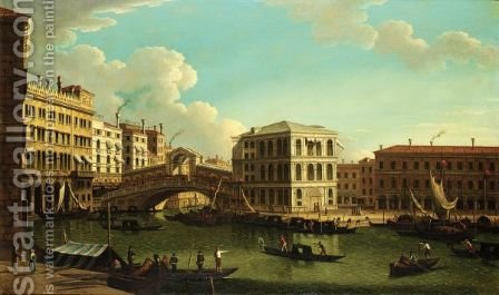 Venice, A View Of The Grand Canal With The Rialto Bridge by (after) (Giovanni Antonio Canal) Canaletto - Reproduction Oil Painting