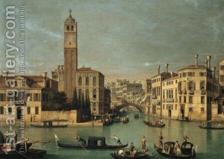 Venice, The Cannareggio And The Entrance To The Grand Canal by (after) (Giovanni Antonio Canal) Canaletto - Reproduction Oil Painting