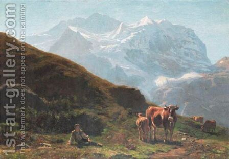 Vue De La Jungfrau by Albert Lugardon - Reproduction Oil Painting