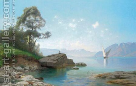 Au Bord Du Lac by Auguste Louis Veillon - Reproduction Oil Painting