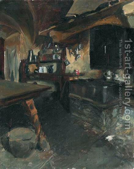 Kucheninterieur by Giovanni Giacometti - Reproduction Oil Painting