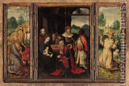 A Triptych Central Panel The Adoration Of The Magi - Right Wing Saint Francis Receiving The Stigmata - Left Wing Saint Jerome In Penitence by Antwerp School - Reproduction Oil Painting