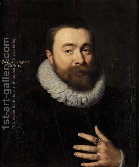 A Portrait Of A Gentleman, Aged 29, Wearing A Black Jacket And A White Ruff by (after) Gortzius Geldorp - Reproduction Oil Painting