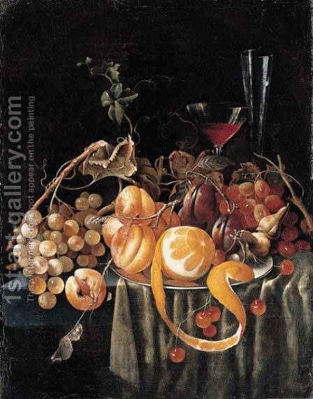 A Still Life Of Grapes, Apricots, Plums, Cherries And A Peeled Orange, Together With Glasses On A Table by (after) Jan Davidsz. De Heem - Reproduction Oil Painting