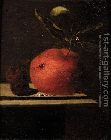 A Still Life Of An Orange And Two Medlars Upon A Ledge by Marten Nellius - Reproduction Oil Painting