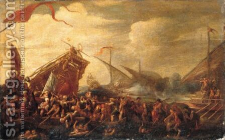A Naval Battle Between Turks And Christians by Cornelis de Wael - Reproduction Oil Painting