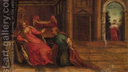 Esther Confronted By Hamon by (after) Paolo Veronese (Caliari) - Reproduction Oil Painting