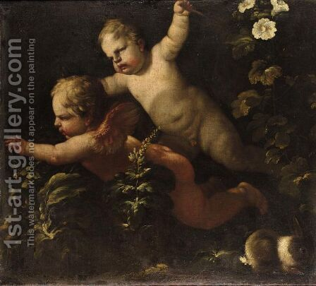Two Putti by (after) Luca Giordano - Reproduction Oil Painting